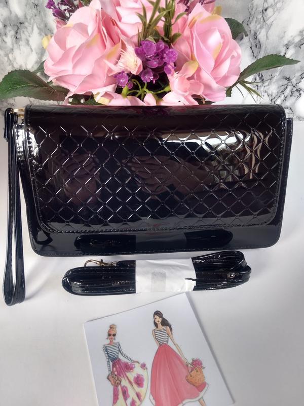 Лаковая сумочка-клатч из эко-кожи