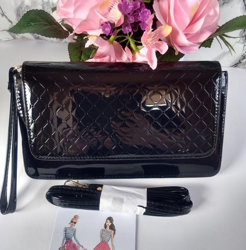 Лаковая сумочка-клатч из эко-кожи - Фото 2