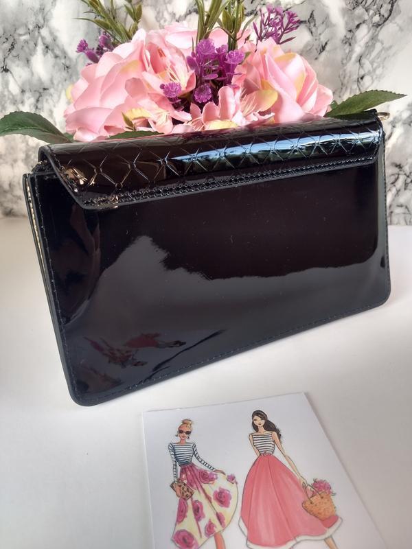 Лаковая сумочка-клатч из эко-кожи - Фото 3