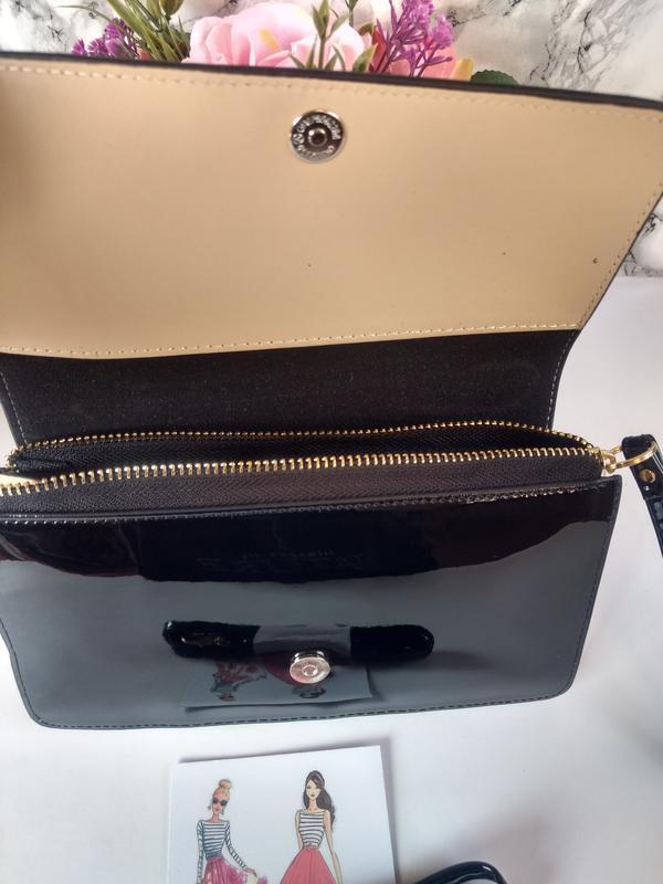 Лаковая сумочка-клатч из эко-кожи - Фото 5