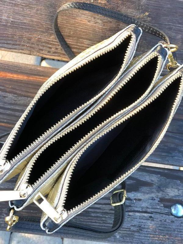 Вместительные кожаные сумочки на три отделения - Фото 4