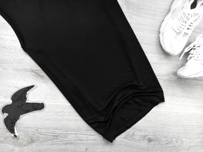 Базовая черная майка с разрезами по боках прямого покроя h&m - Фото 3