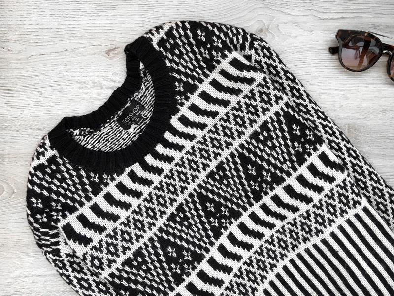 Актуальный свитер/джемпер  в орнаментный принт topshop - Фото 2