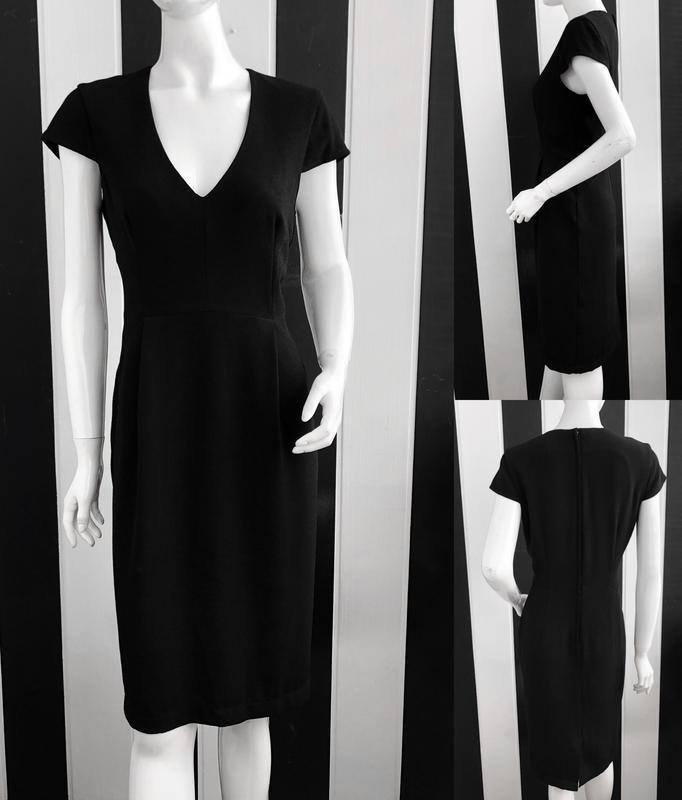 Крутое классическое миди платье с v-образным вырезом - Фото 5