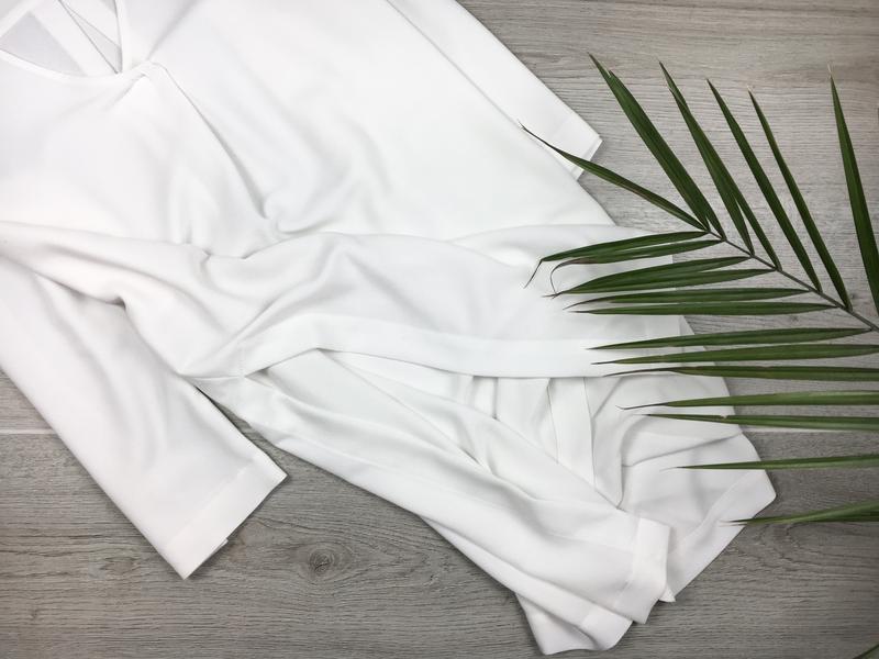 Невероятная удлинённая блуза/туника молочного цвета monki - Фото 3