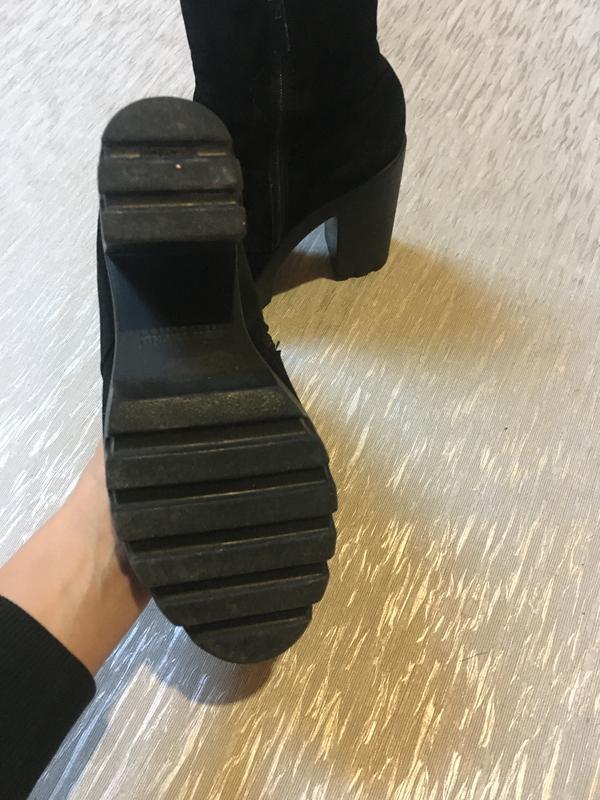 Женские осенние ботинки на каблуке платформе замш велюр гатура... - Фото 2