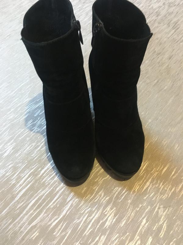 Женские осенние ботинки на каблуке платформе замш велюр гатура... - Фото 3
