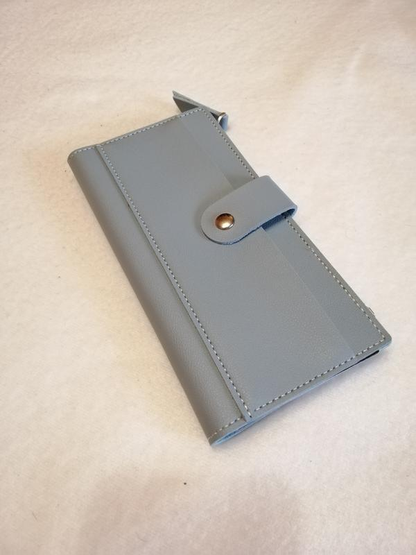 Серо-голубой, голубой женский кошелёк, бумажник на кнопке, молнии - Фото 2