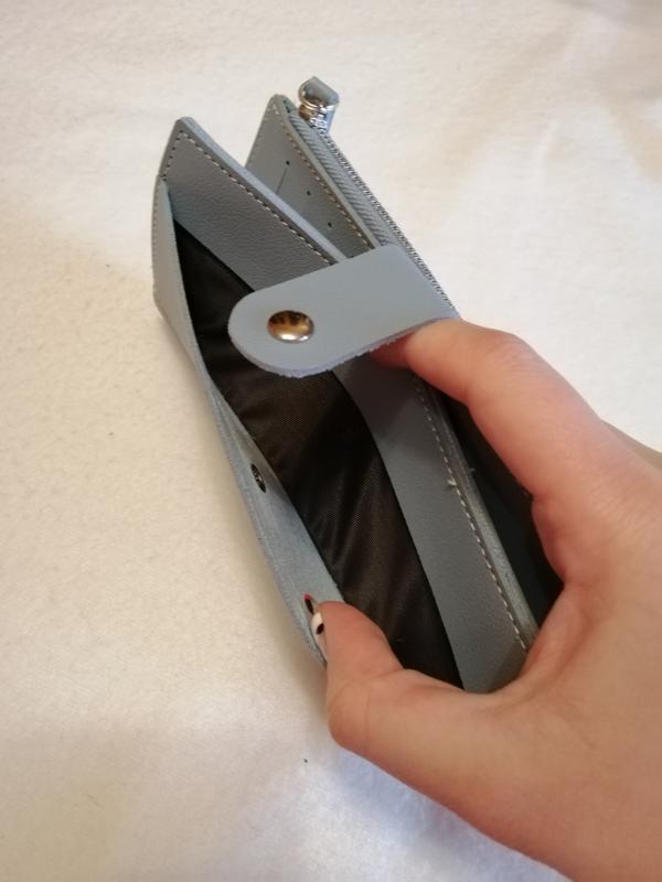 Серо-голубой, голубой женский кошелёк, бумажник на кнопке, молнии - Фото 5