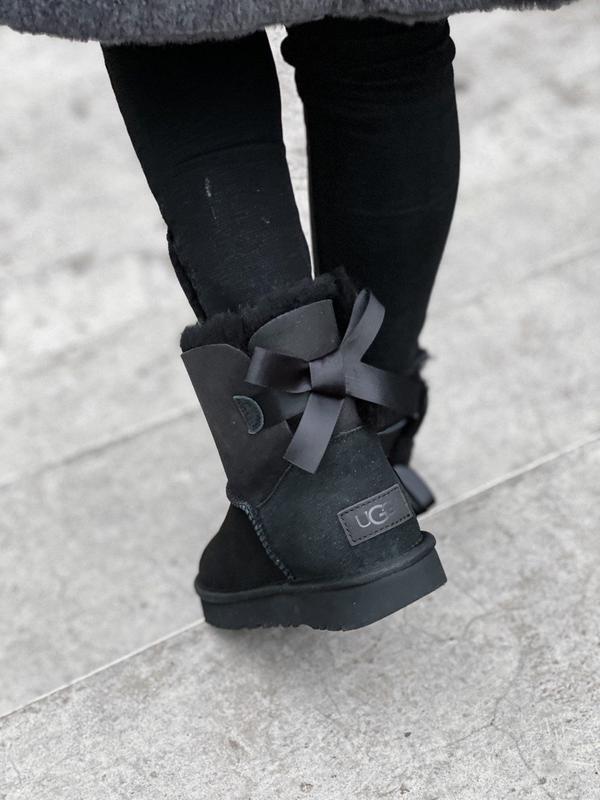 🌺ugg bailey bow 2 black🌺стильные черные женские угги с бантом