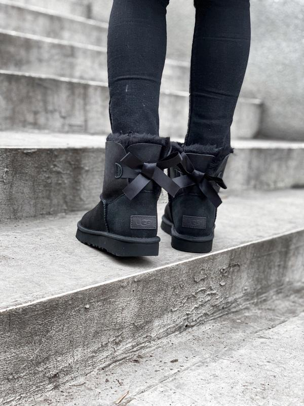 🌺ugg bailey bow 2 black🌺стильные черные женские угги с бантом - Фото 5