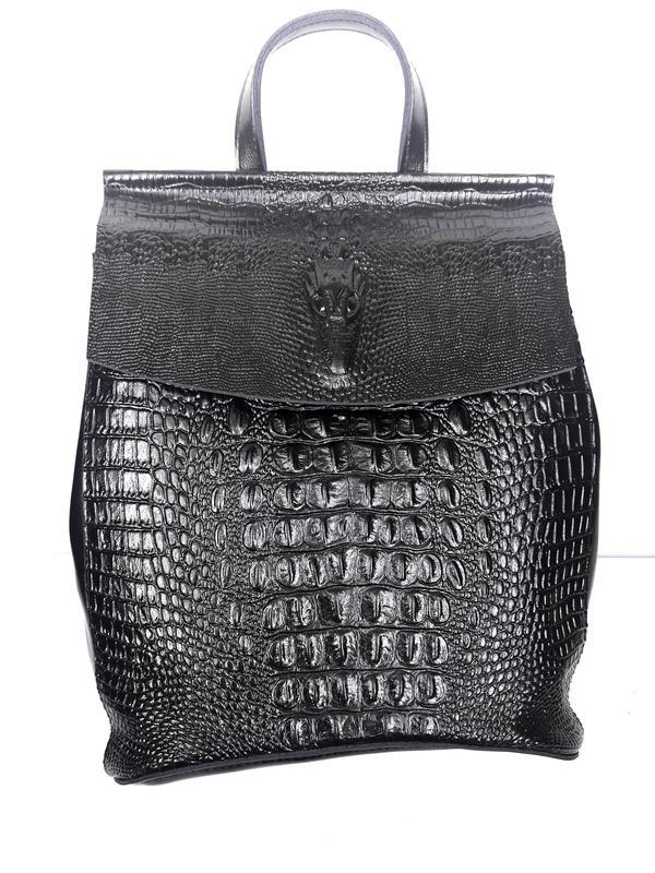 """Женский кожаный рюкзак """"alligator"""" черный"""