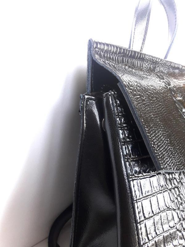 """Женский кожаный рюкзак """"alligator"""" черный - Фото 2"""
