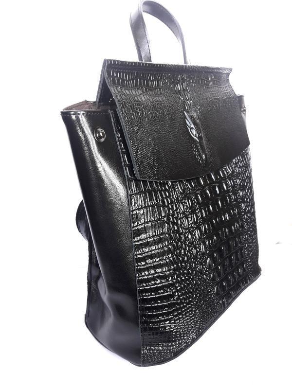"""Женский кожаный рюкзак """"alligator"""" черный - Фото 3"""