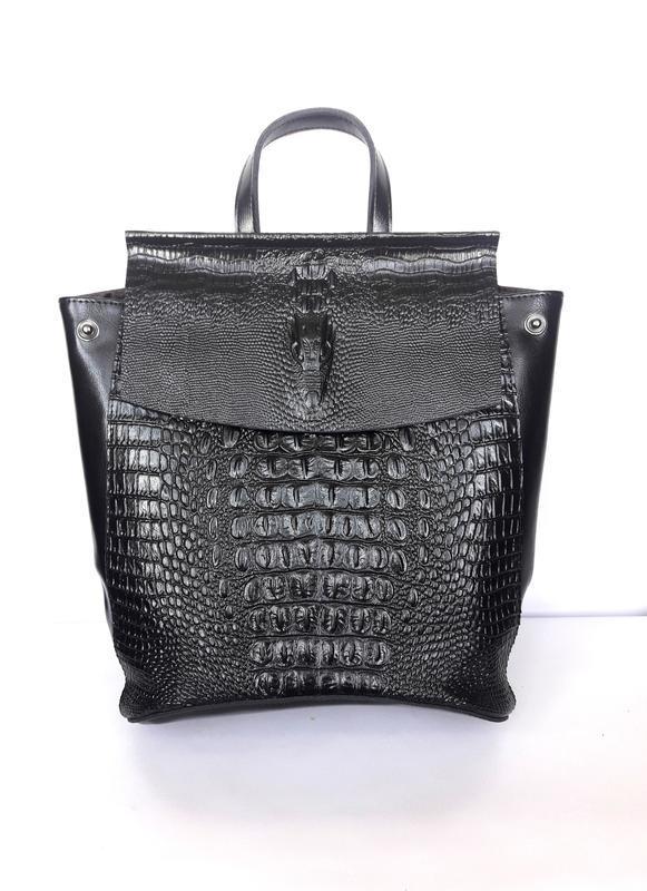 """Женский кожаный рюкзак """"alligator"""" черный - Фото 4"""
