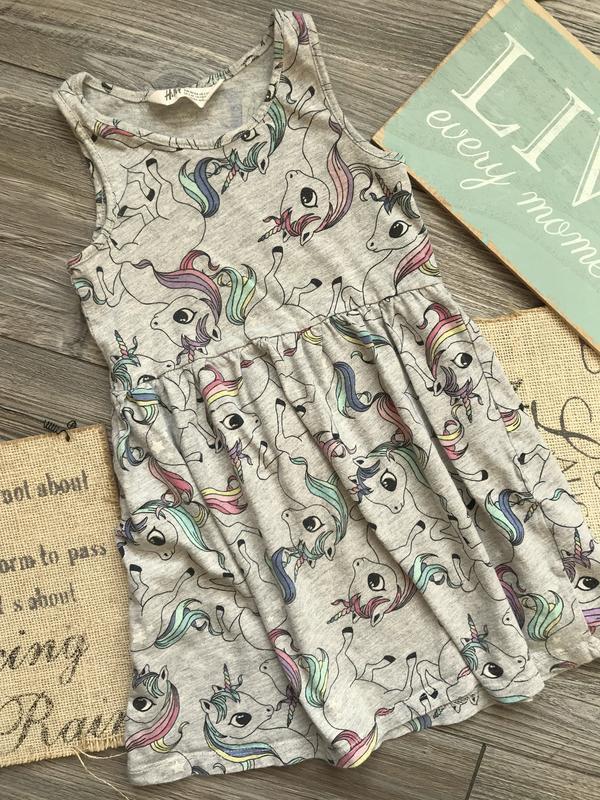 Платье с единорогами h&m 2-4г - Фото 2