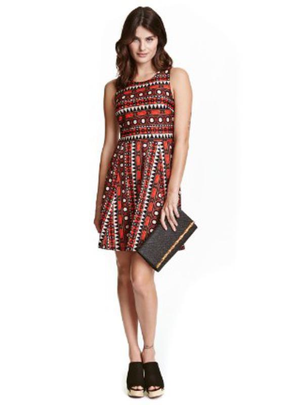 Платье миди с принтом и красивой спинкой h&m