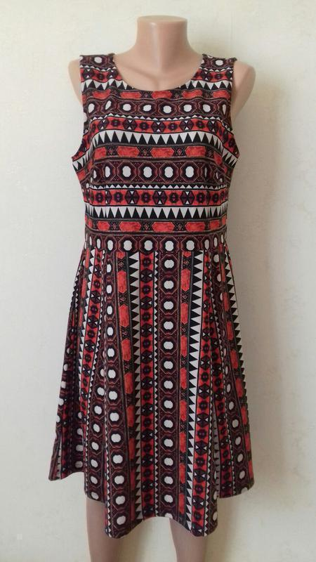 Платье миди с принтом и красивой спинкой h&m - Фото 2