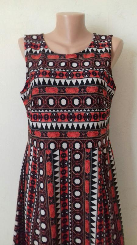 Платье миди с принтом и красивой спинкой h&m - Фото 3