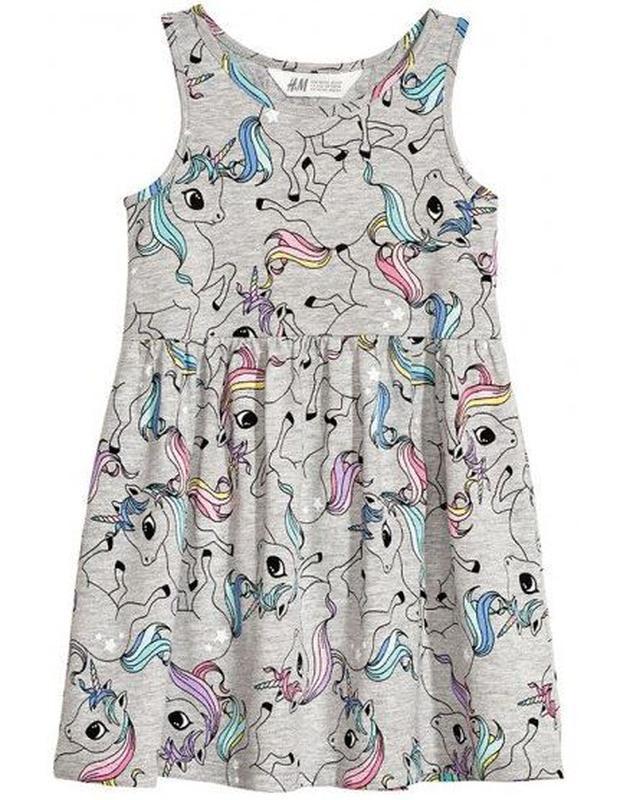 Платье с единорогами h&m 2-4г