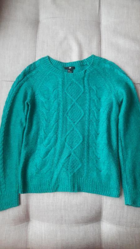 Красивый свитер с косами в составе мохер h&m