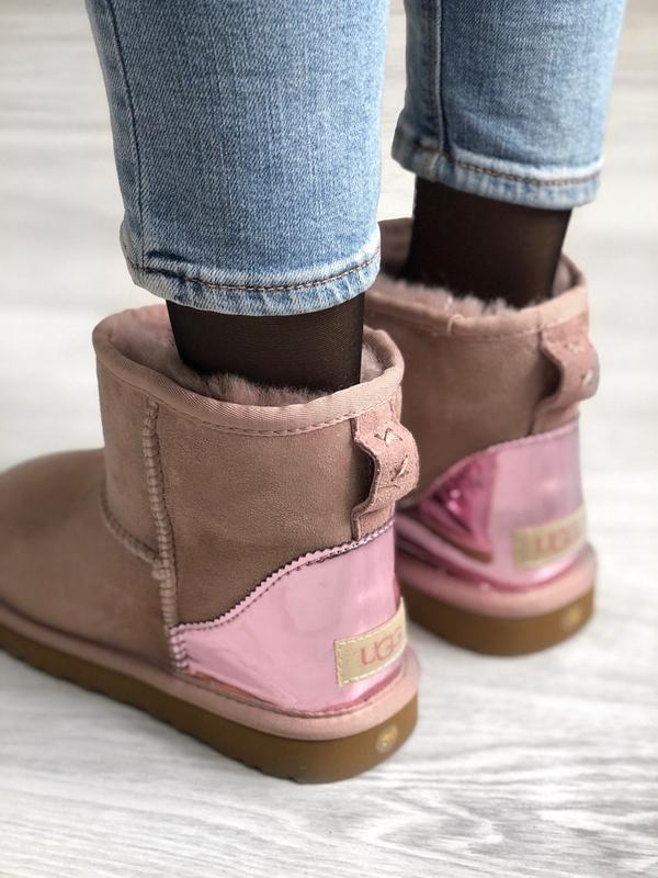 Ugg classic short dus pink, угги женские зимние, розовые - Фото 6