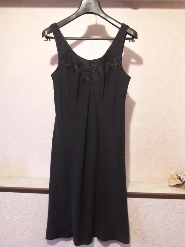 Женская черная ночнушка комбинация marks & spencer - Фото 4