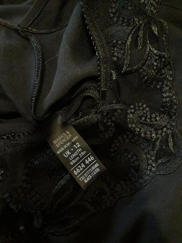 Женская черная ночнушка комбинация marks & spencer - Фото 6