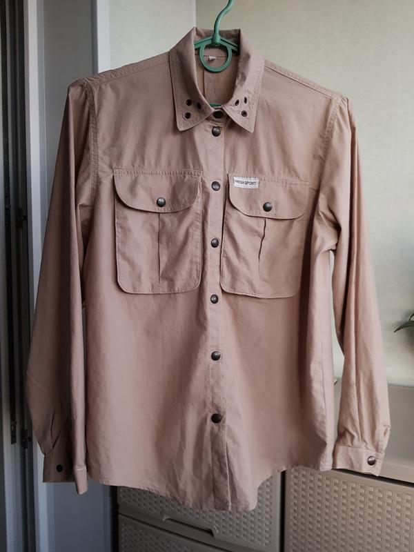 Рубашка с накладными карманами натуральный коттон сафари милитари