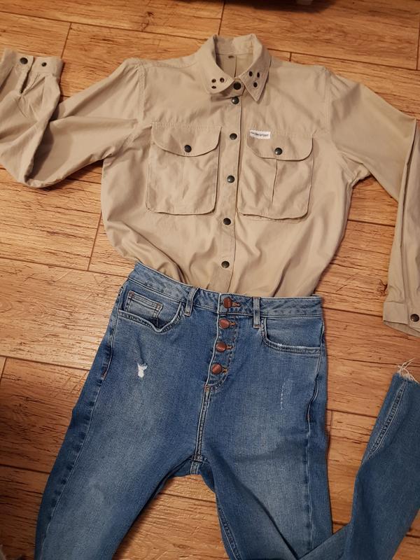 Рубашка с накладными карманами натуральный коттон сафари милитари - Фото 8
