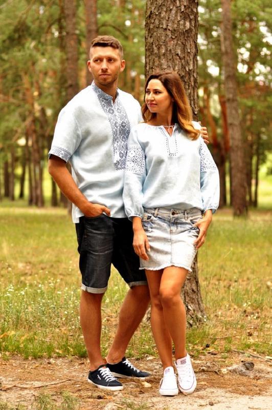 Комплект вишиванок - чоловіча сорочка і жіноча блуза - Фото 2