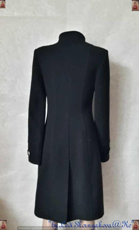 Базовое строгое чёрное пальто деми с кожаными вставками на 70 ... - Фото 2