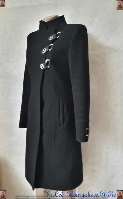 Базовое строгое чёрное пальто деми с кожаными вставками на 70 ... - Фото 4