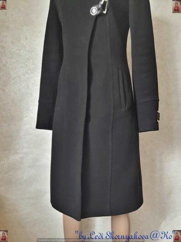 Базовое строгое чёрное пальто деми с кожаными вставками на 70 ... - Фото 5