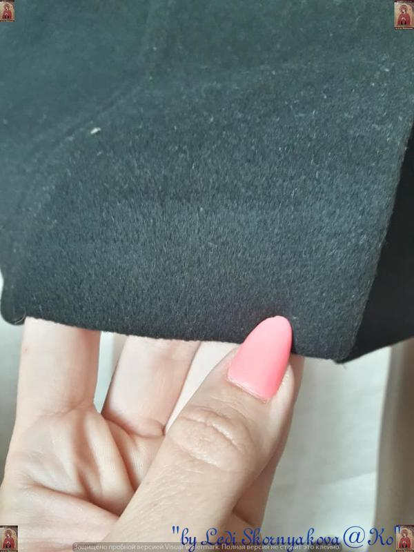 Базовое строгое чёрное пальто деми с кожаными вставками на 70 ... - Фото 8
