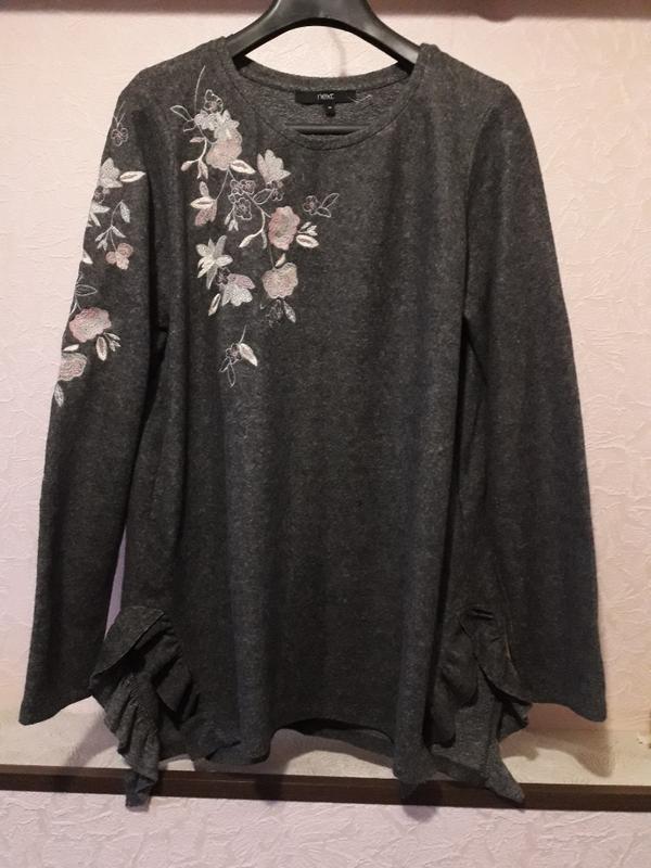 Женский серый джемпер пуловер кофта next с вышивкой цветы разр... - Фото 2
