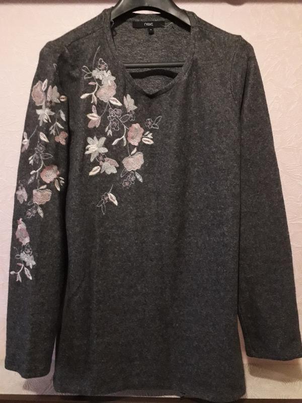 Женский серый джемпер пуловер кофта next с вышивкой цветы разр... - Фото 4