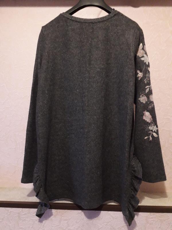 Женский серый джемпер пуловер кофта next с вышивкой цветы разр... - Фото 5