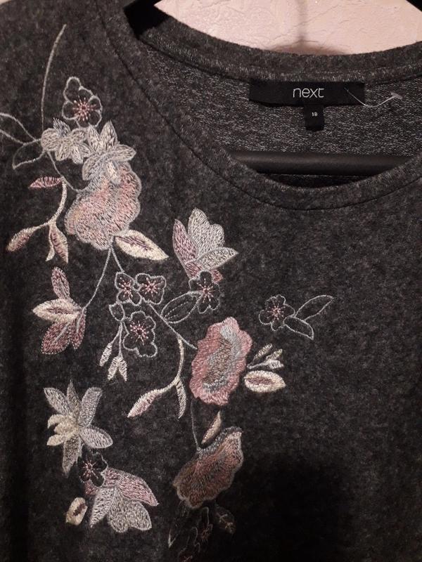 Женский серый джемпер пуловер кофта next с вышивкой цветы разр... - Фото 9