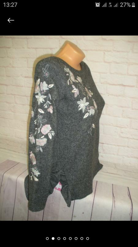 Женский серый джемпер пуловер кофта next с вышивкой цветы разр... - Фото 10