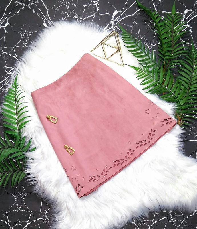Пудровая юбка трапеция под замш primark - Фото 2