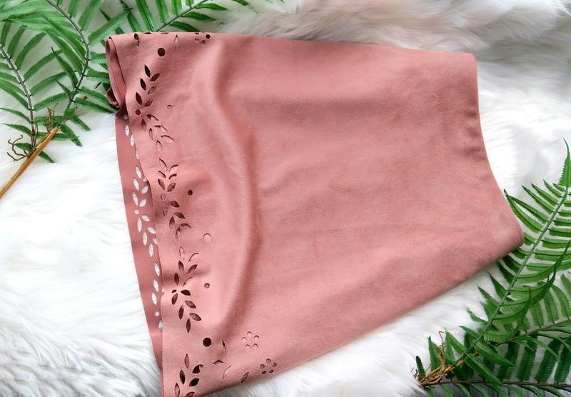 Пудровая юбка трапеция под замш primark - Фото 3