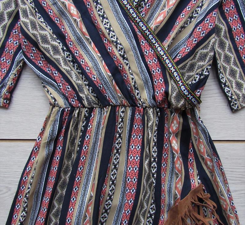 Платье в орнамент в стиле бохо с бахромой - Фото 3