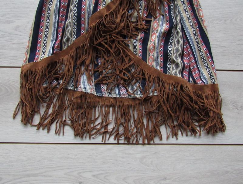 Платье в орнамент в стиле бохо с бахромой - Фото 5