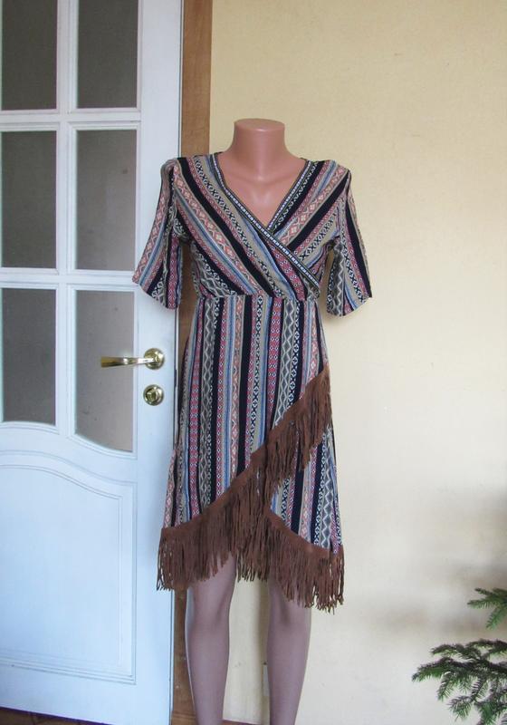Платье в орнамент в стиле бохо с бахромой - Фото 7