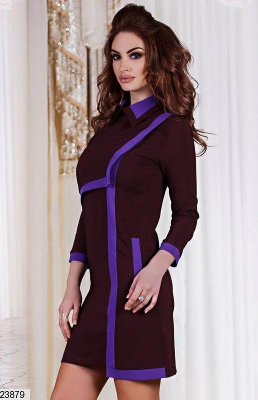 Платье креп-костюмка 2 цвета 42-46 - Фото 2