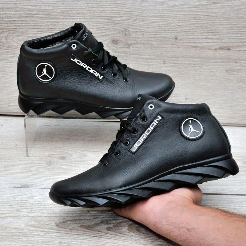 Jordan кожанные зимние ботинки - Фото 2