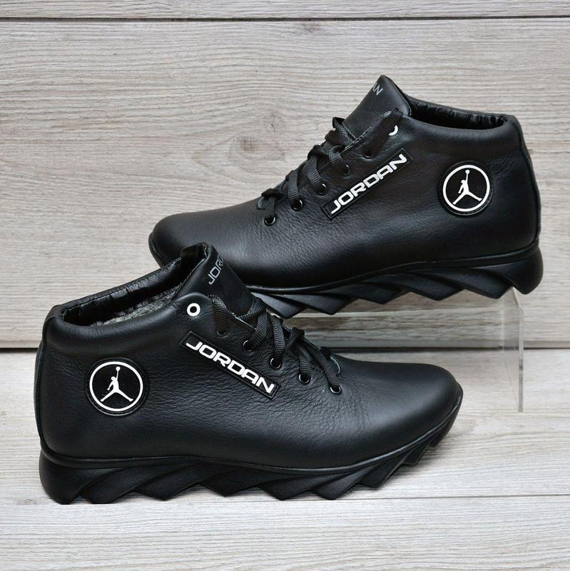 Jordan кожанные зимние ботинки - Фото 4