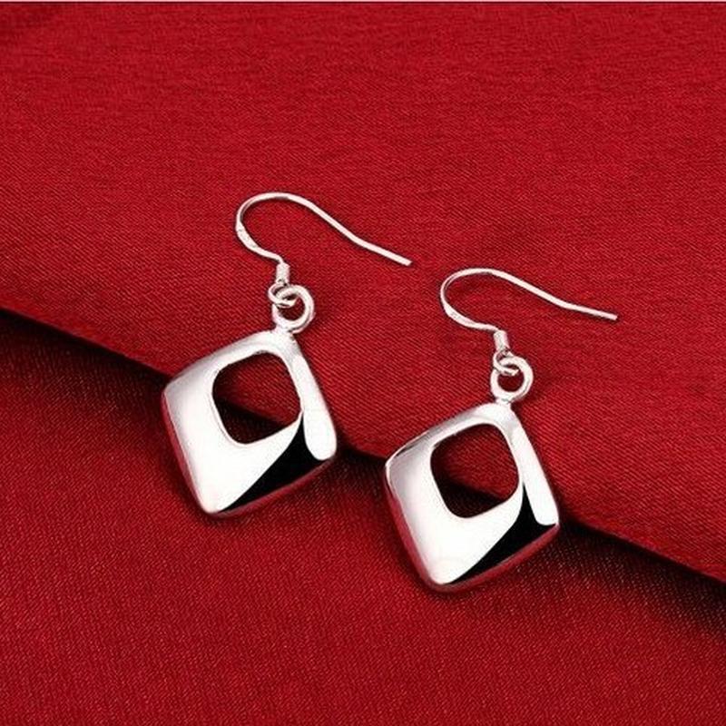 🏵 стильные серьги в серебре 925 ромбы, новые! арт. 9472 - Фото 2