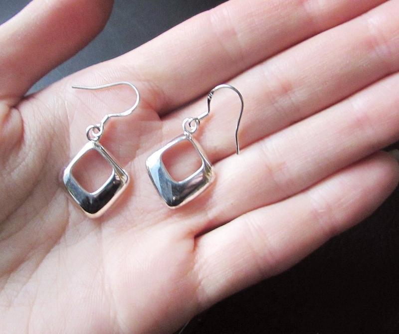 🏵 стильные серьги в серебре 925 ромбы, новые! арт. 9472 - Фото 5